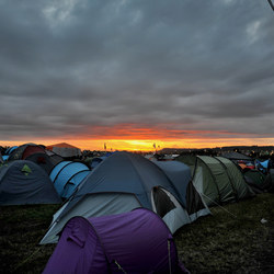 Sunset over some tents