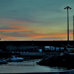 Sunset over harbour