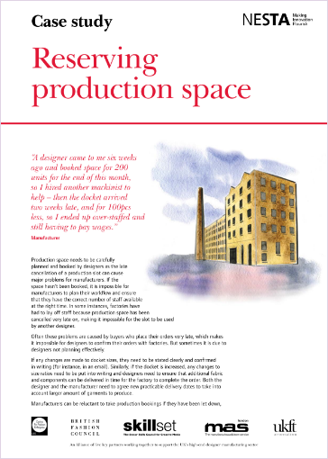 reserving production space case study