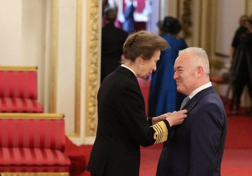Mr. Paul Alger from London is made an MBE (Member of the Order of the British Empire) by the Princess Royal at Buckingham Palace. Jonathan Brady/PA Wire