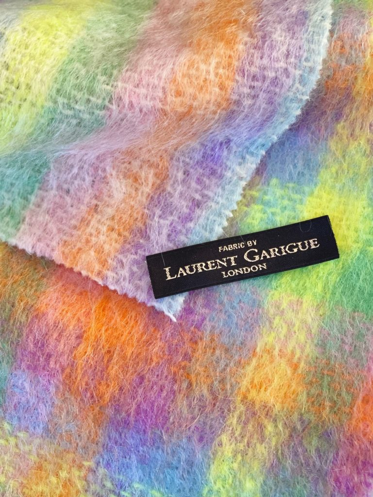 Laurent Garigue : a pastel mohair check. Composition: 78% Mohair, 16% Wool, 6% Nylon