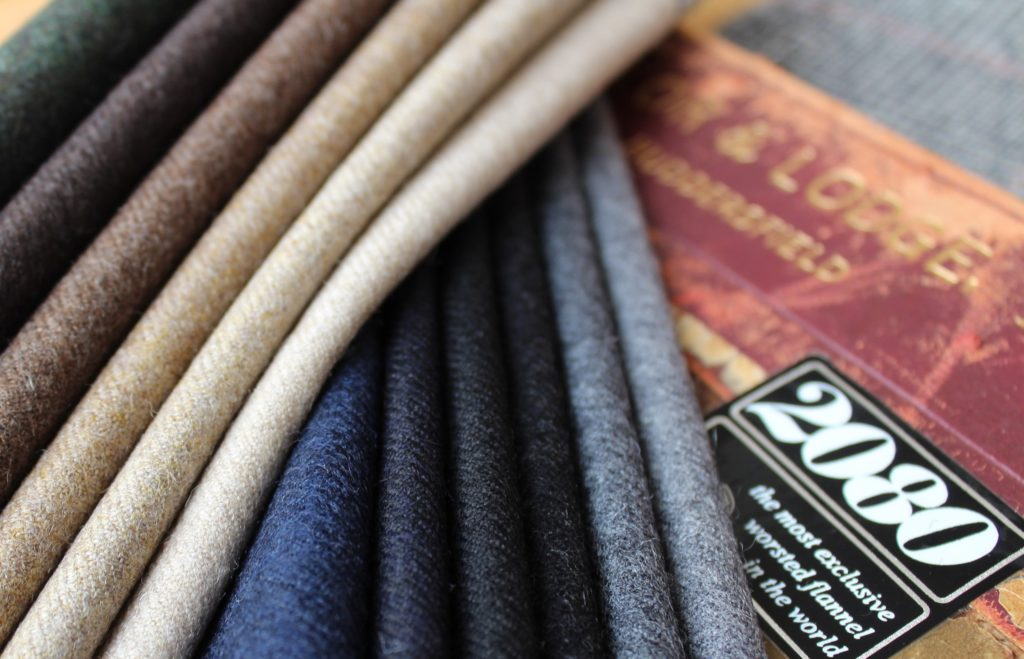 . Taylor and Lodge : '2080' 100% wool worsted flannel (420gms) from the Arthur Harrison brand at Taylor & Lodge. The image shows their new stock supported plains.