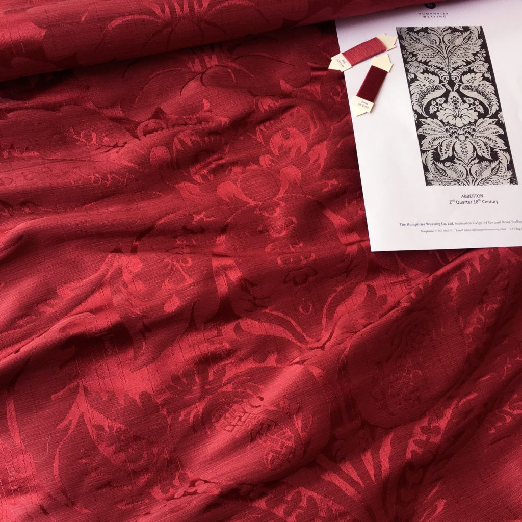 """Humphries Weaving : An 18th Century """"Abberton Damask"""" in the customer's chosen silk & linen shades in response to their brief. The fabric is suitable for upholstery, curtains and drapes, with the design one of thousands available from their textile archive"""