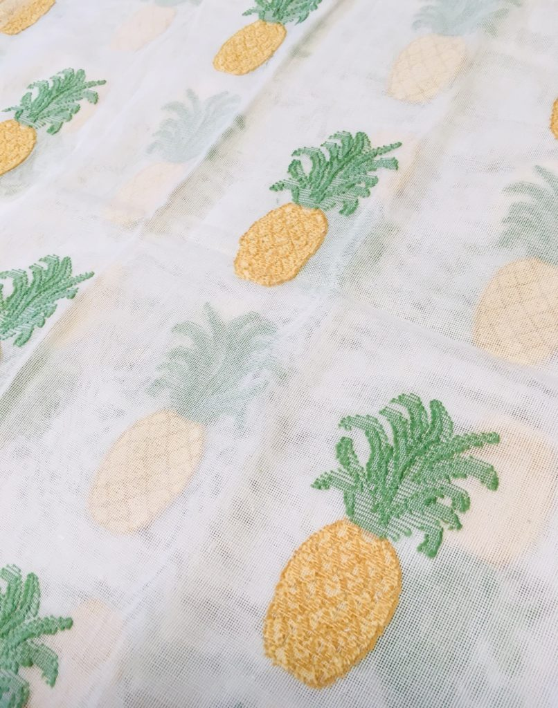 MYB Textiles : Pineapple design : MYB Textiles have started getting ready for exhibiting at Proposte 2022 in April with this tropical pineapple design just off the loom.