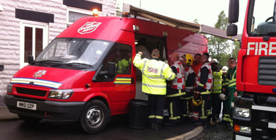 Salvation Army emergency services are supporting emergency personnel after an explosion in Oldham
