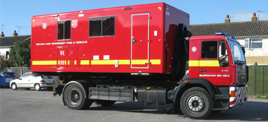 Red Devon and Somerset Fire & Rescue Service welfare pod run with The Salvation Army