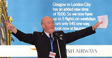Airport chaplain Keith Banks speaking at a conference