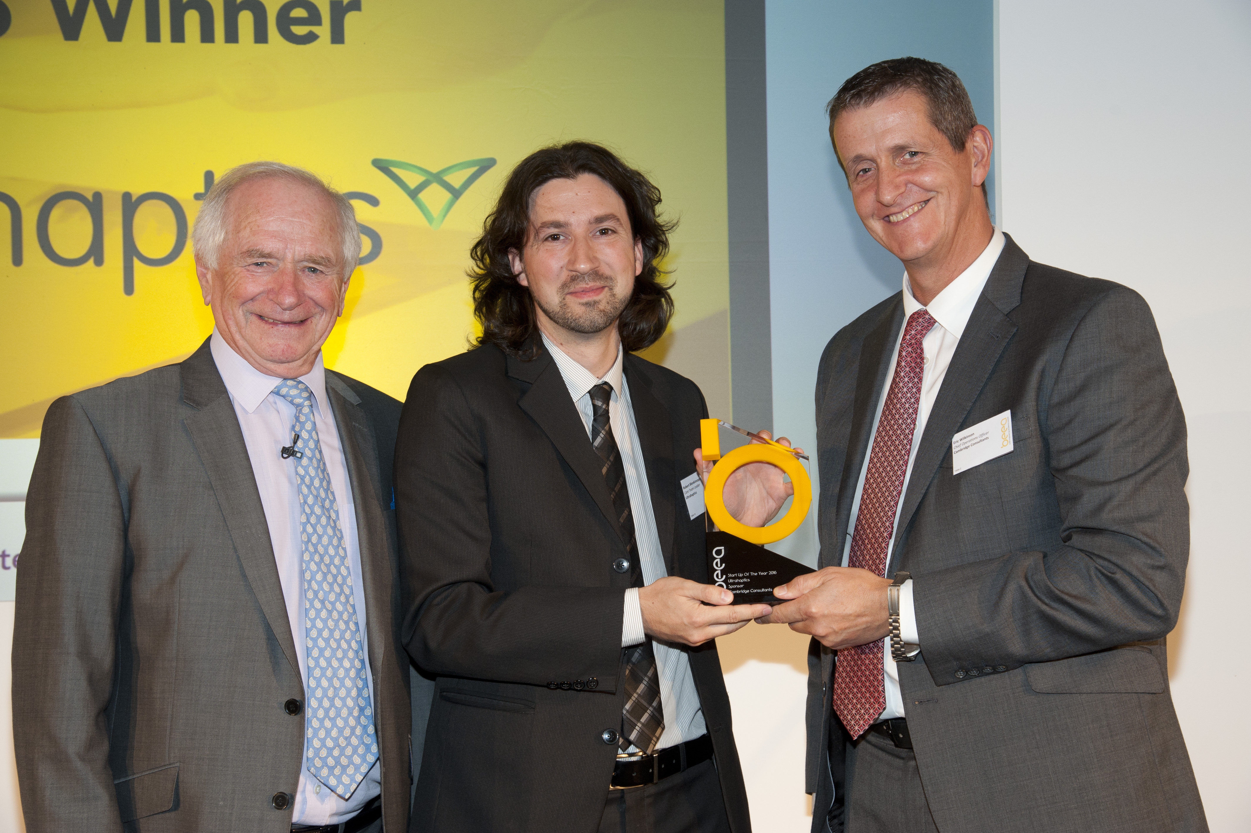 Left to Right: Johnny Ball- Award host, Robert Blenkinsopp - Ultrahaptics, Eric Wilkinson, COO, Cambridge Consultants and Chairman of the Judging panel.