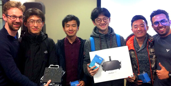 The StudentHack V Manchester hackathon winners of Best VR Hack using Ultrahaptics technology