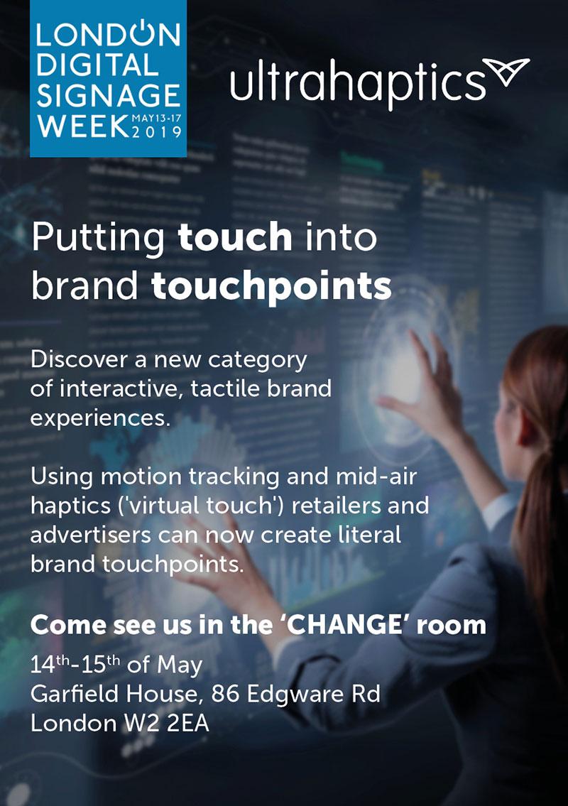 Ultrahaptics london digital signage week 2019 flyer