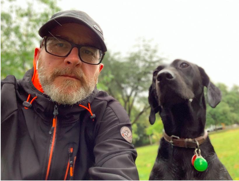 Martyn Evans and dog, Genie