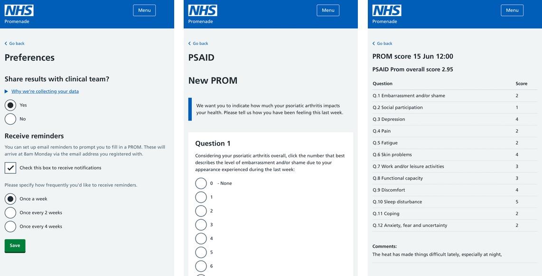 Promenade screenshots, using NHS Design System