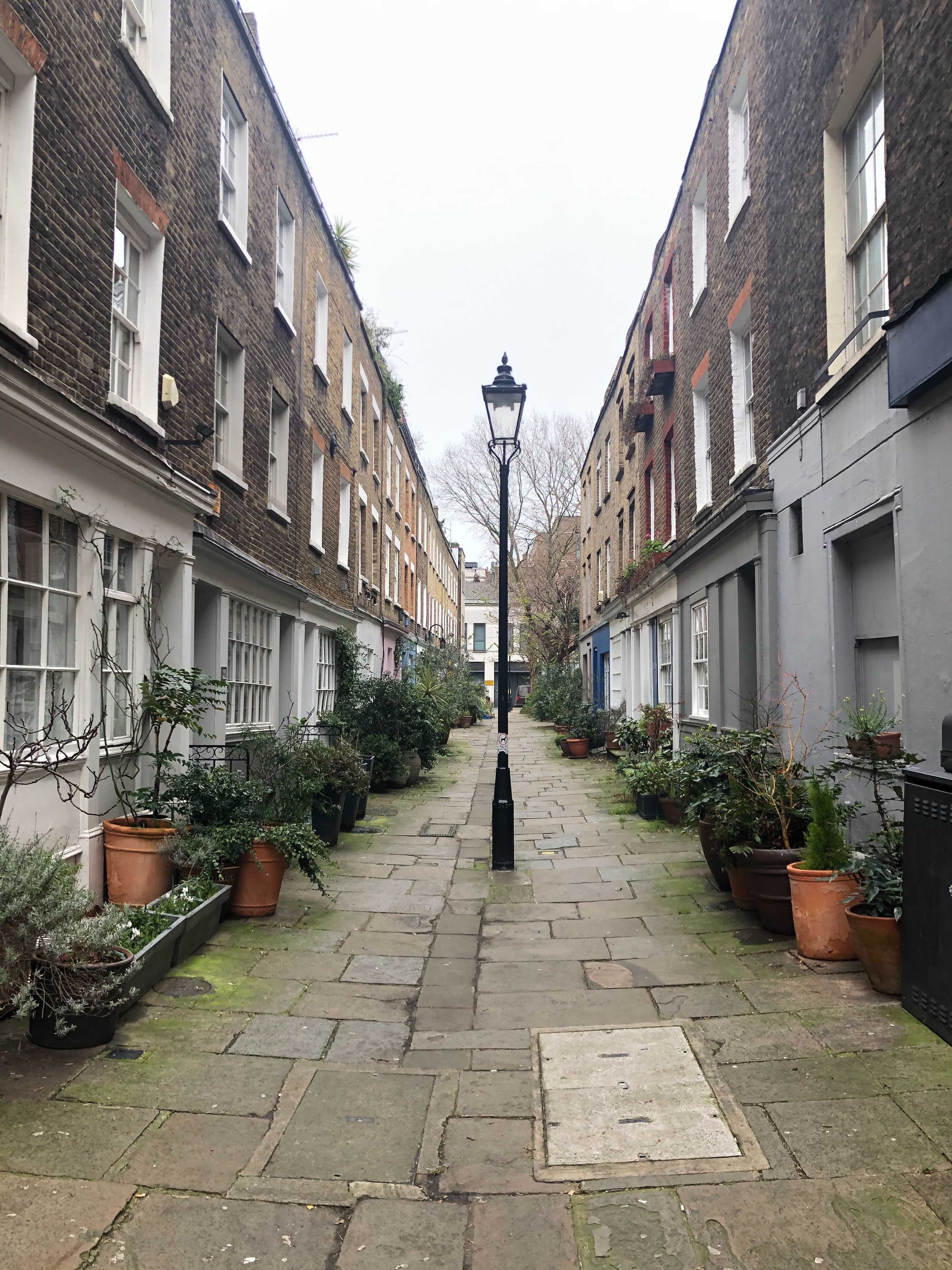 A central London courtyard. Celia