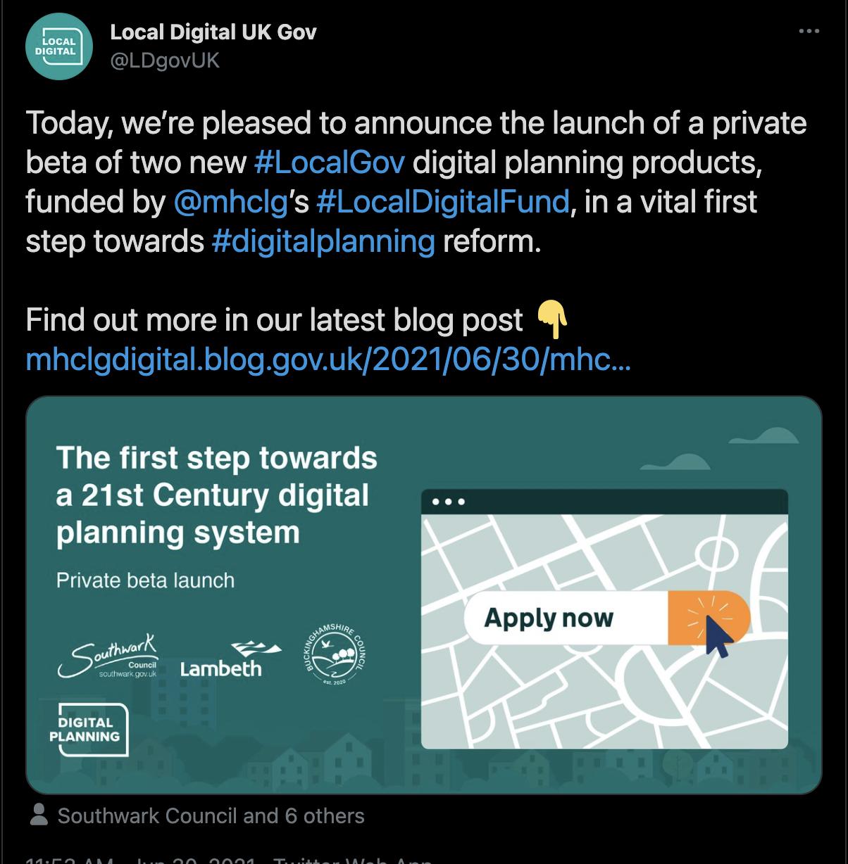 Tweet from MHCLG announcing BoPS launch