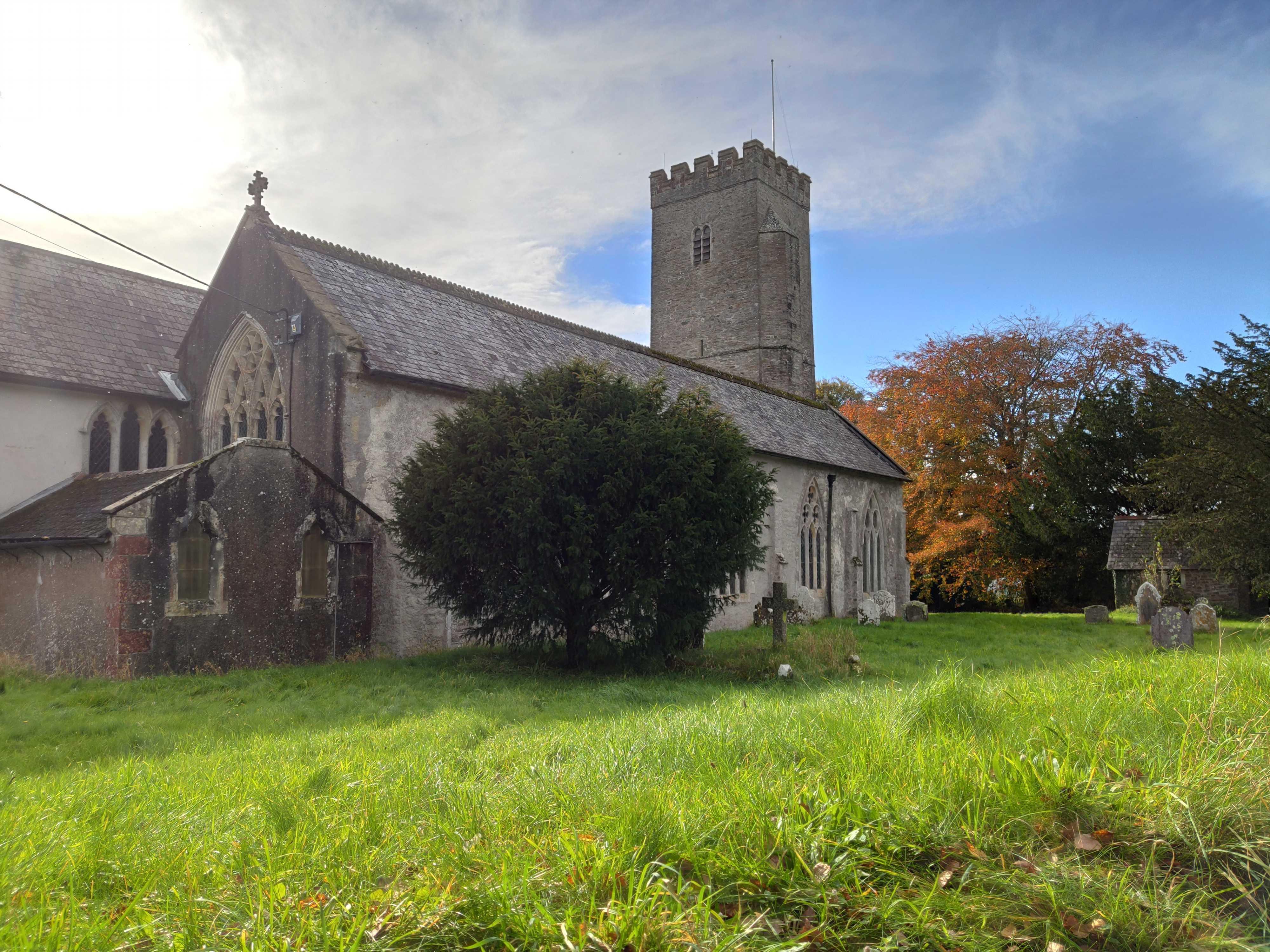 Country churchyard at Staverton in Devon