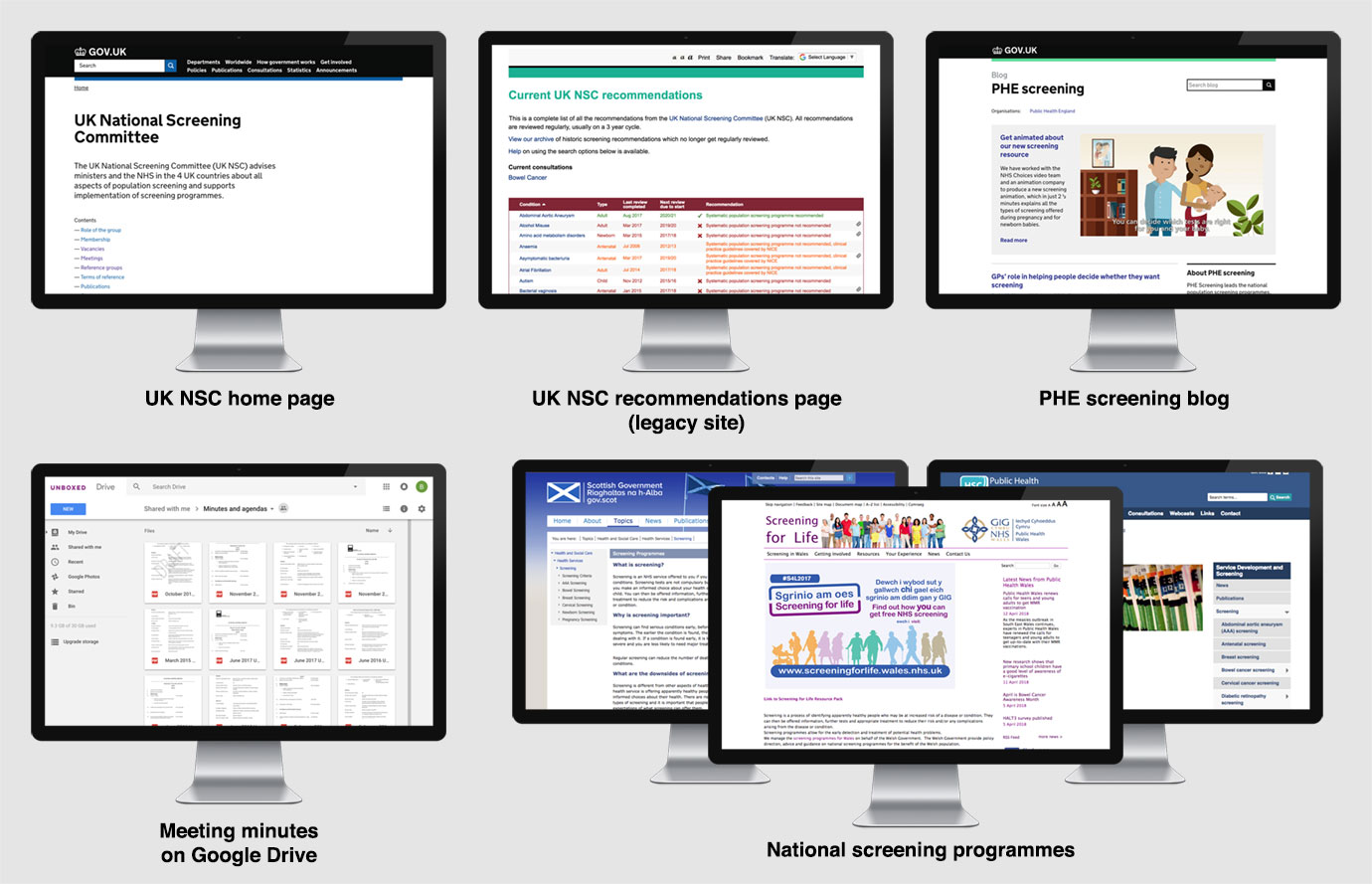 Screening websites screenshots