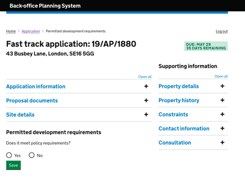 Screenshot of website prototype created for developers to reference.