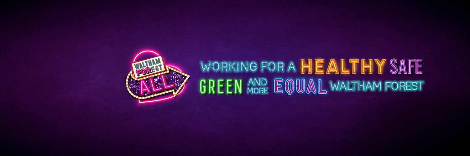 """Waltham Forest Council Emblem: """"Working for a healthy, safe, green and more equal Waltham Forest"""""""