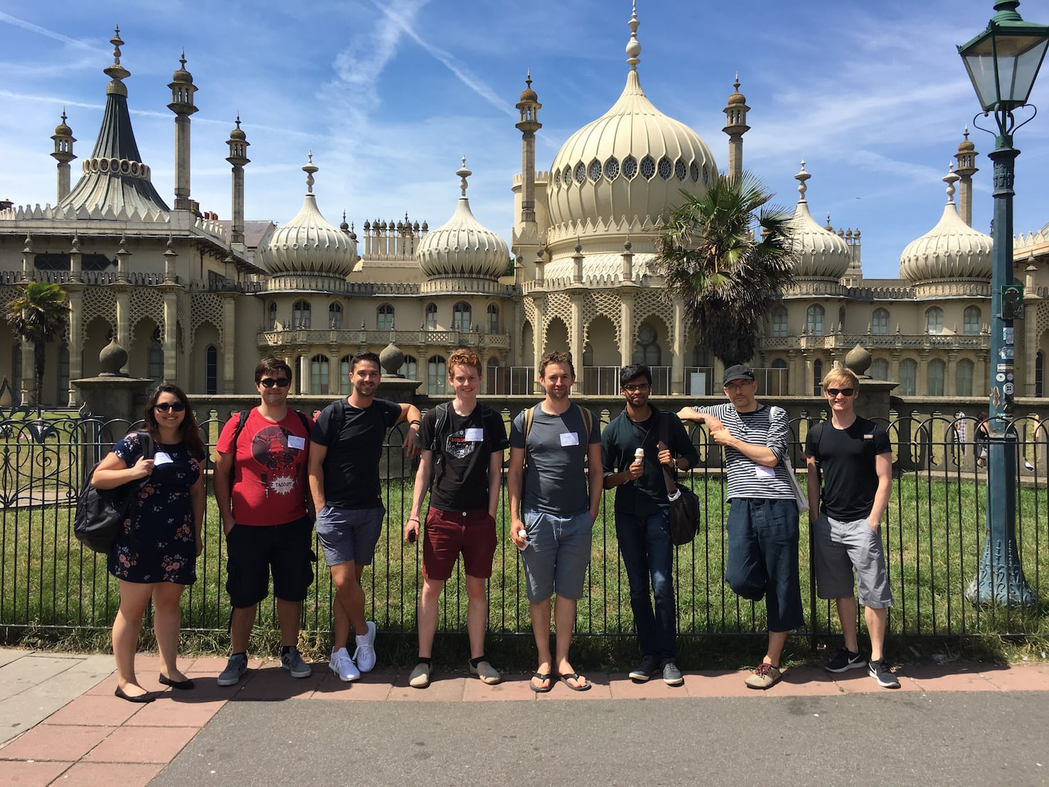Brighton Ruby 2017 - Unboxed developers outside the Brighton Pavilion