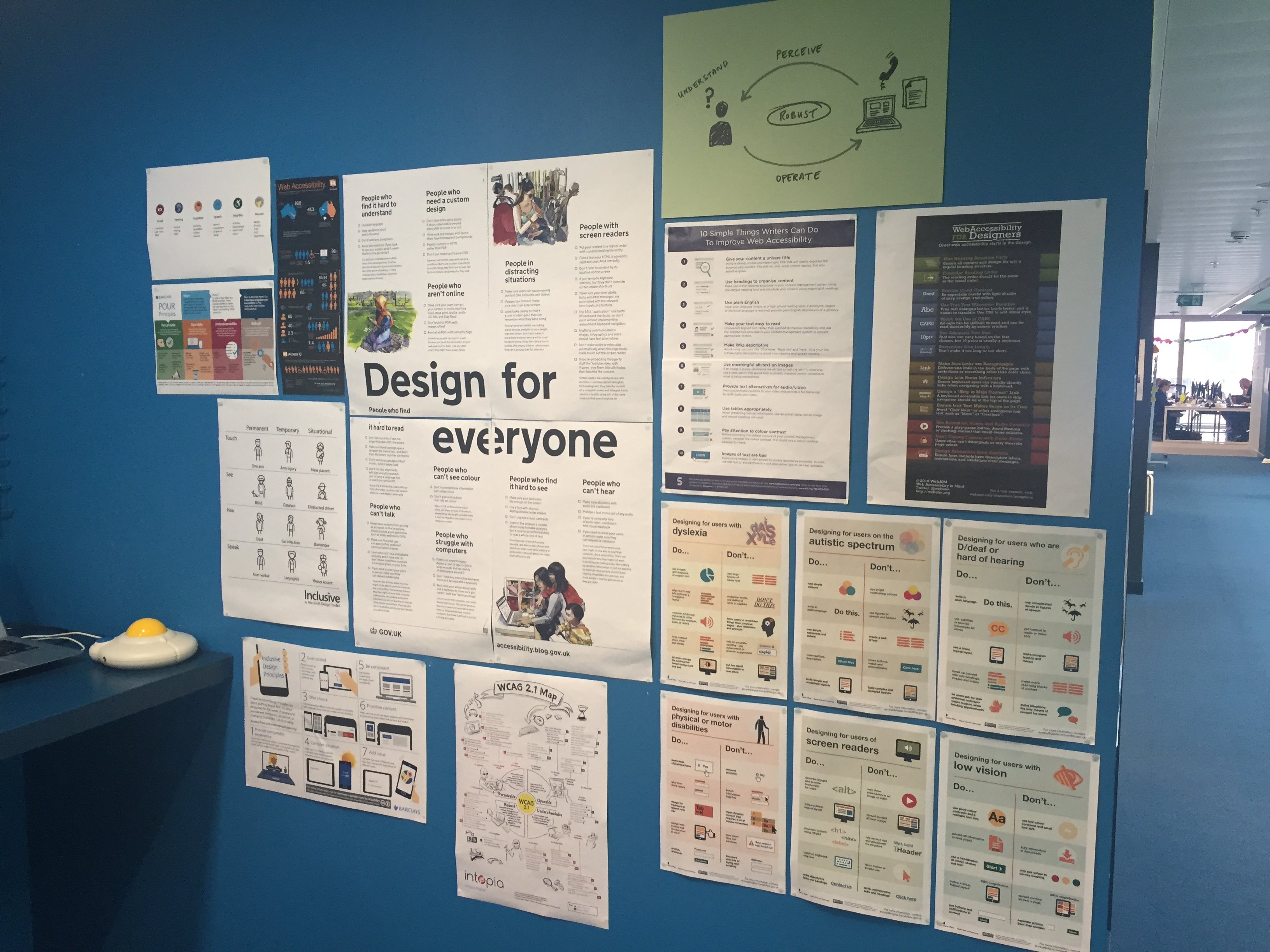 Posters showing principles of good design for accessibility