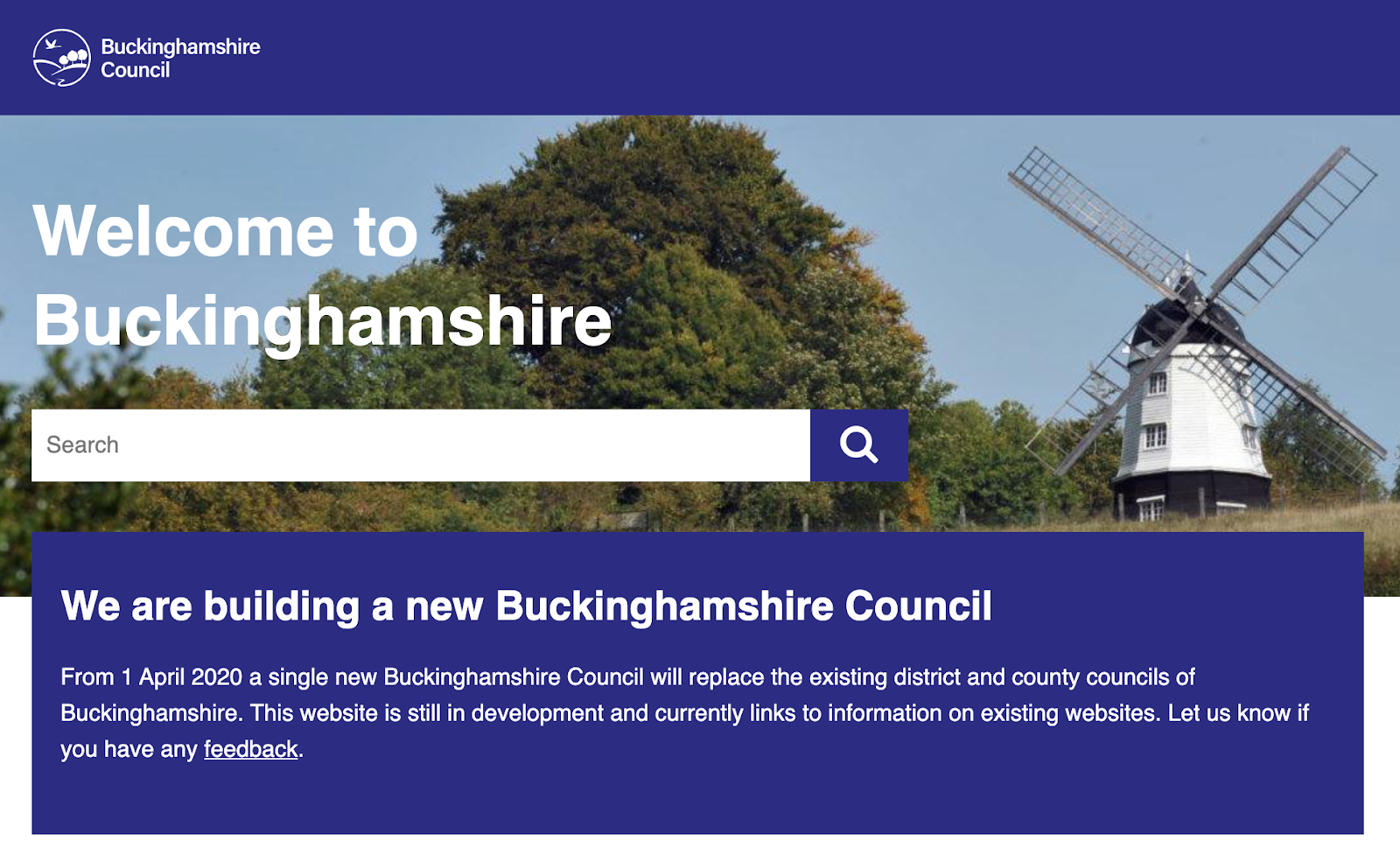 The new Buckinghamshire Council website homepage