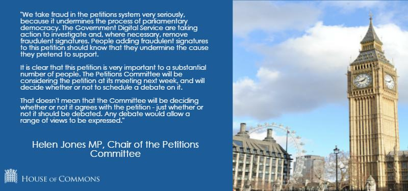 Petition Committee statement