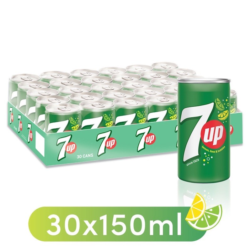 7UP, Carbonated Soft Drink, Mini Cans, 30 x 150 ml