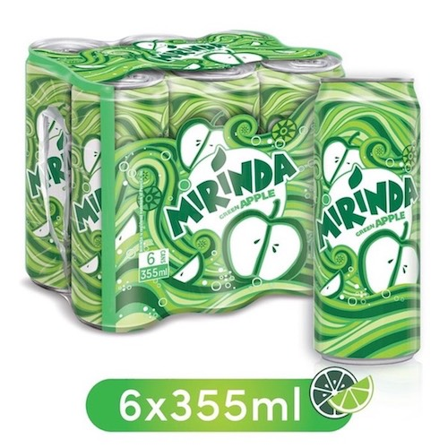 Mirinda Green Apple, Carbonated Soft Drink, Cans, 6 x 355 ml