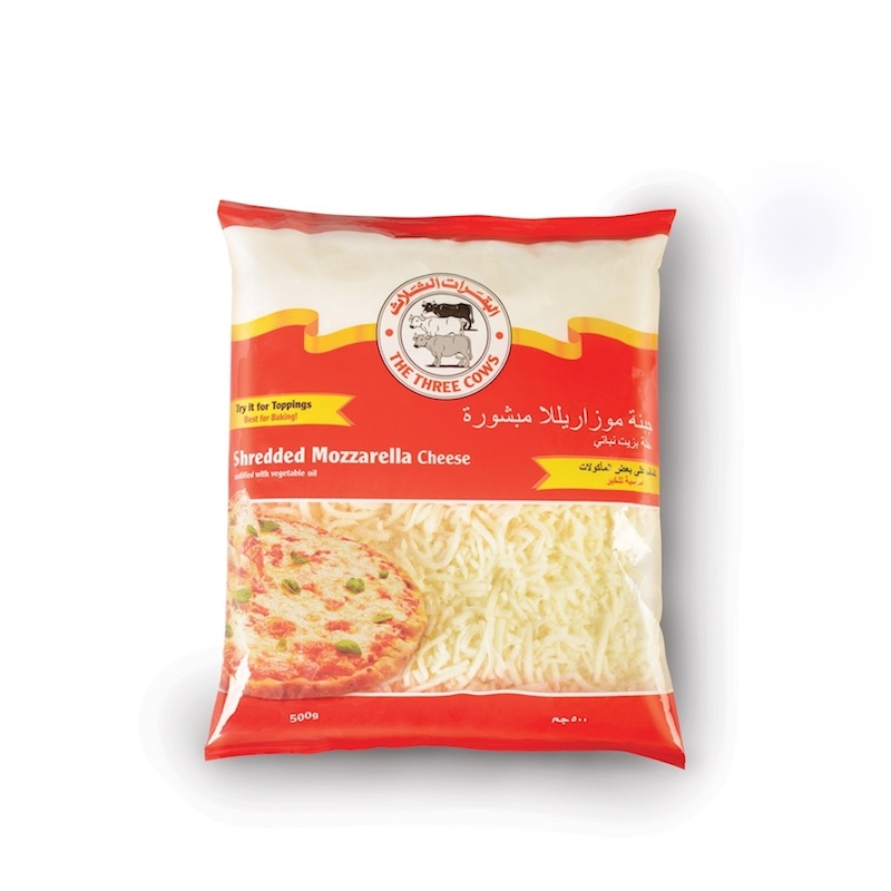 The Three Cows TTC Shredded Mozzarella Cheese 500g