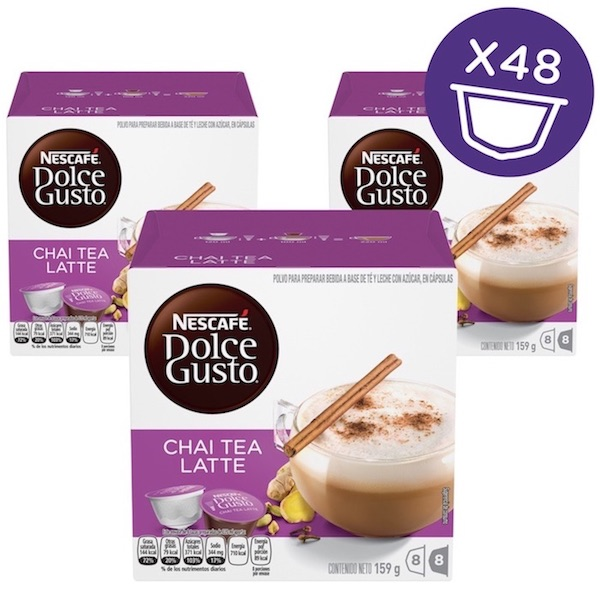 Nescafe Dolce gusto Chai Tea Latte Coffee Capsules (16 Capsules, 8 Cups) 159.2g, 3 Pcs