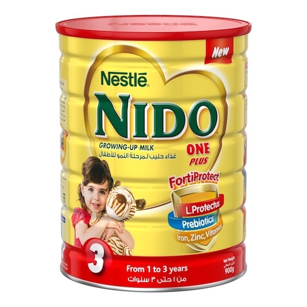 Nestle Nido Fortiprotect One Plus (1-3 Years Old) growing Up Milk Tin 900g, 12 Pcs