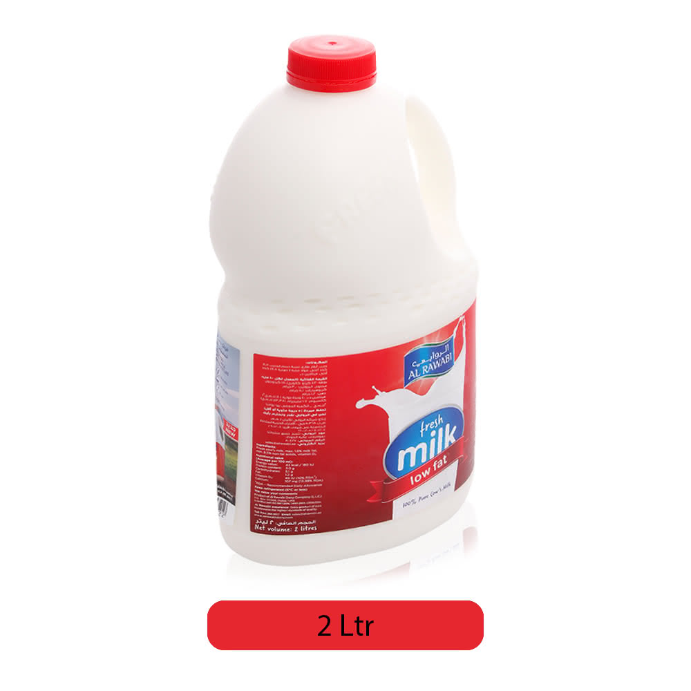 Al Rawabi Low Fat Fresh Milk - 2 Ltr
