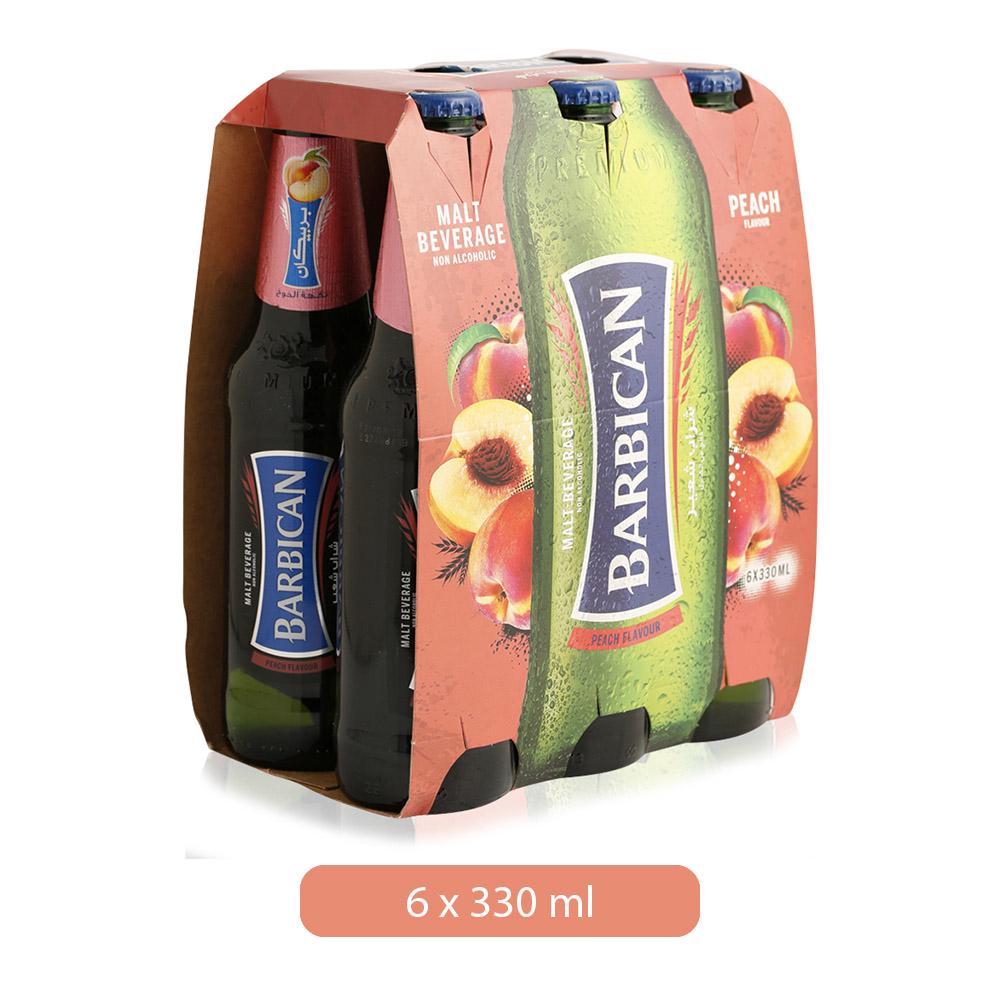 Barbican Peach Flavor Non Alcoholic Malt Beverage - 6 x 330 ml