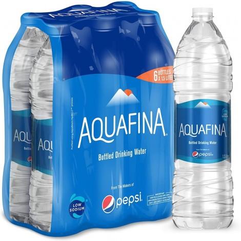 Aquafina Bottled Drinking Water, 1.5 Litre x 6