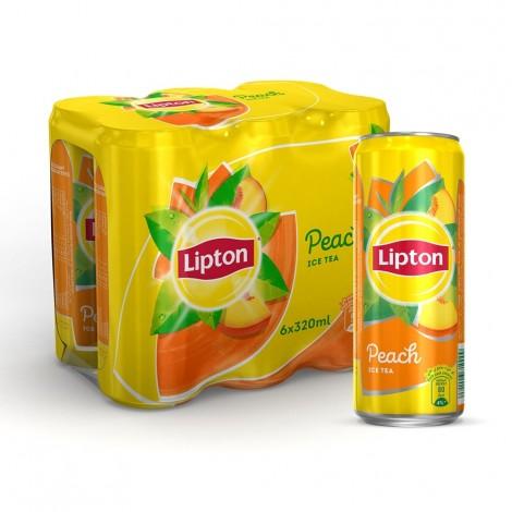 Lipton Ice Tea Peach, Non-carbonated Iced Tea Drink, Cans, 320 ml x 6
