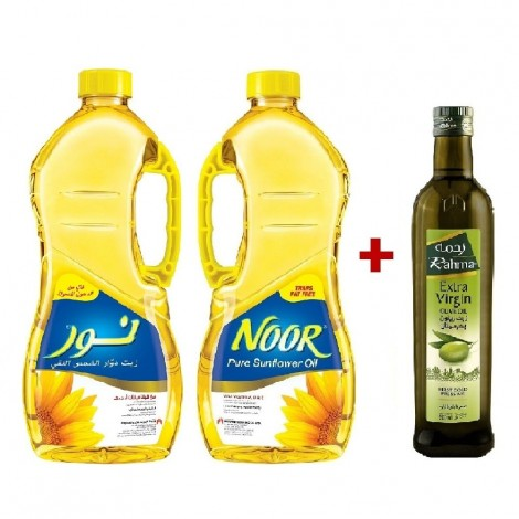 Noor Sunflower Oil, 2x1.8Ltr+Rahma Ev 500ml