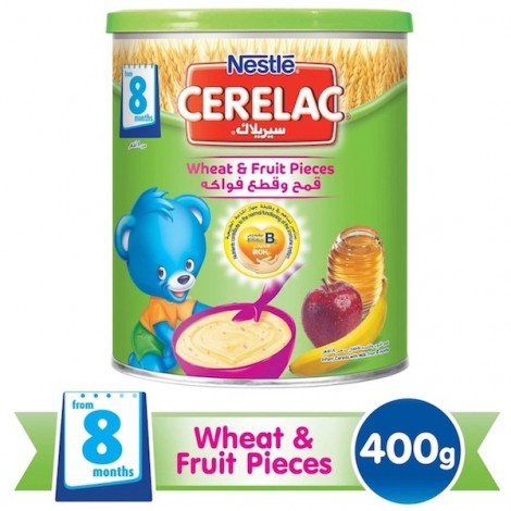 Nestle Cerelac From 8 Months, Wheat And Fruit Pieces With Milk Infant Cereal Tin 400g, 24 Pcs