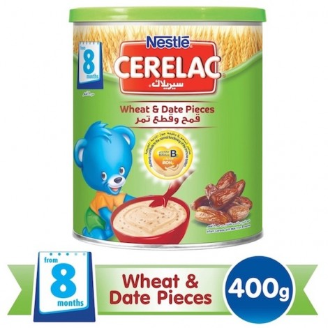 Nestle Cerelac From 8 Months, Wheat And Date Pieces With Milk Infant Cereal Tin 400g, 24 Pcs