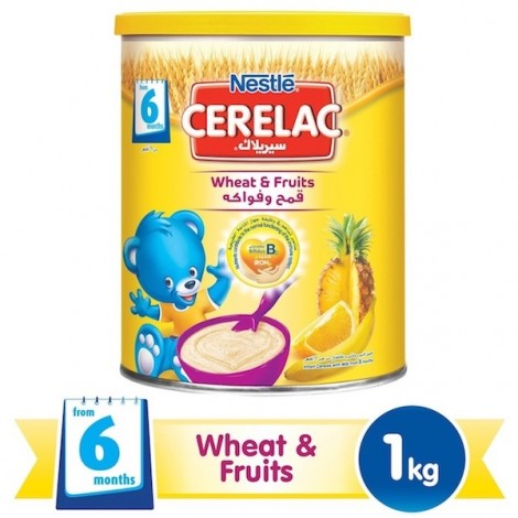 Nestle Cerelac From 8 Months, Wheat And Fruit With Milk Infant Cereal 1Kg Tin, 12 Pcs