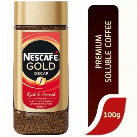 Nescafe gold Instant Coffee Decaffeinated 100g Jar, 12 Pcs