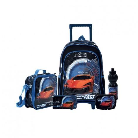 "5N1 SET, 18"" Trolly Lunch Bag,Pencil Case,Lunch Box ,Bottle"