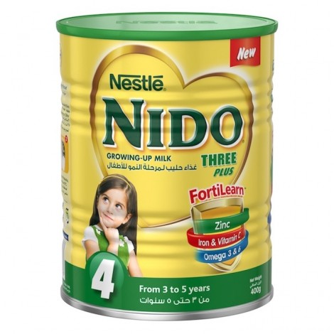 Nestle Nido Fortiprotect Three Plus (3-5 Years Old) growing Up Milk Tin 400g, 24 Pcs
