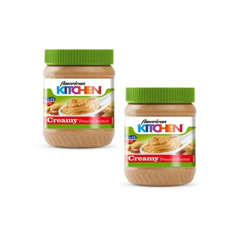 American Kitchen Creamy Peanut Butter, 2x12oz