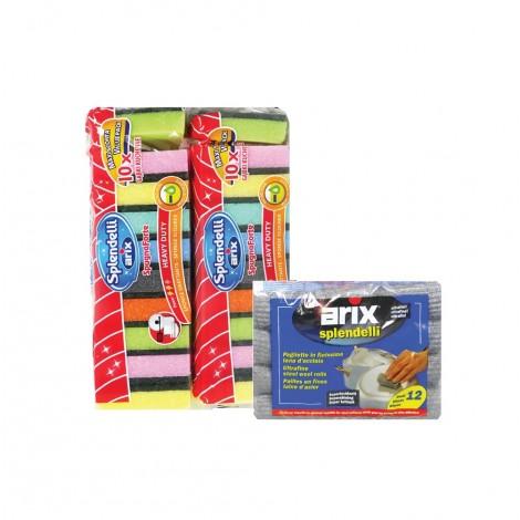 Arix Sponge Scourer Color 2x10Pcs+ Steel wool rolls Free