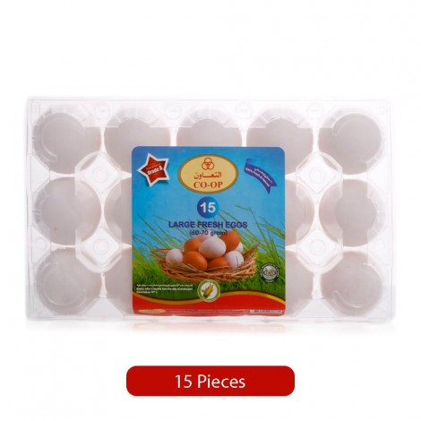Co-Op Fresh White Eggs - Large, 15 Pieces