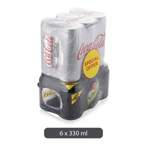 Coca Cola Light & Schweppes Soda Combo - Pack of 12