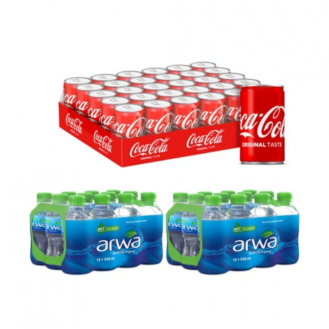 Coca-Cola Cans 30x150ml + Arwa Water 24x330ml
