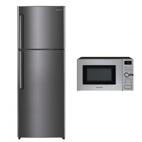 Daewoo 675L Gross Silver Refrigerator + DAEWOO CONVECTION MICROWAVE KOC-9Q5T