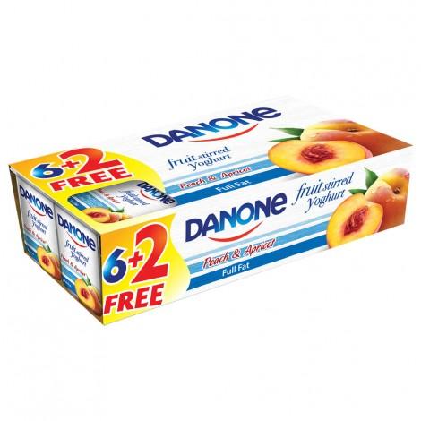 Danone Stirred Yoghurt Peach & Apricot, 8x120gm