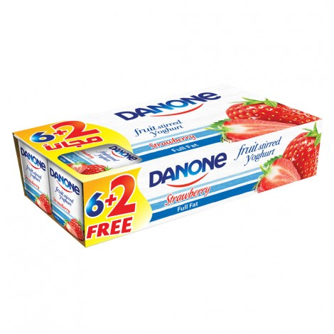 Danone Stirred Yoghurt Strawberry, 8x120gm